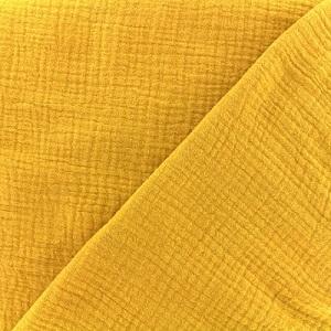 tissu double gaze moutarde